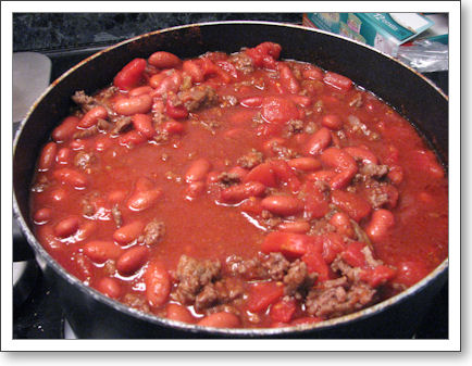 Chili cooking on the stove