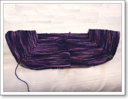 Yoke of sweater in progress