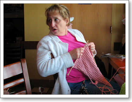 Deb knits a scarf--or is it a wrap?