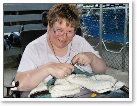 Trish Knits at the swim club