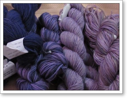 Koigu, in five shades of purple for a shawl
