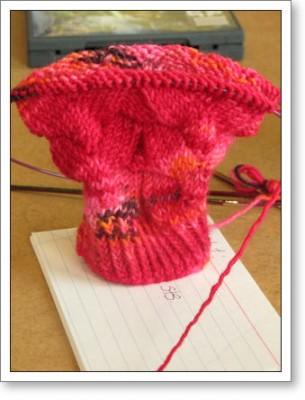 Heather's Monkey Sock in progress
