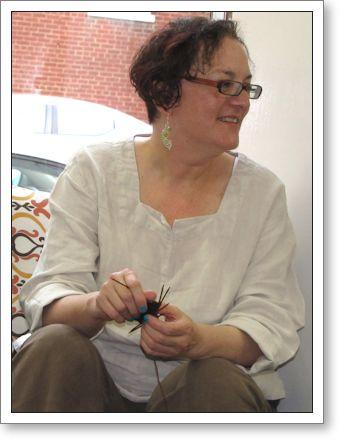 Brenda Dayne, knitting a sock!