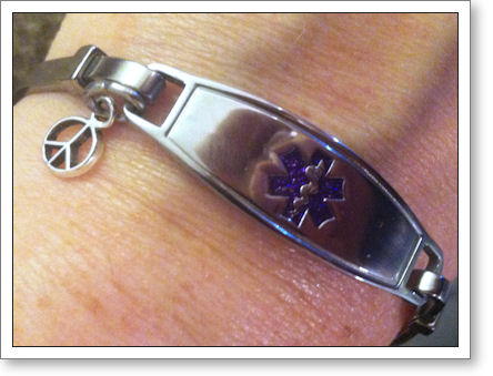Medic Alert Bracelet with purple symbol