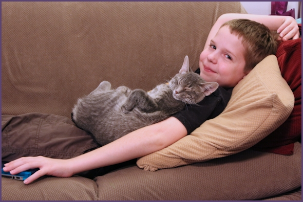 Boy lounging on sofa with sleeping cat on top of him.