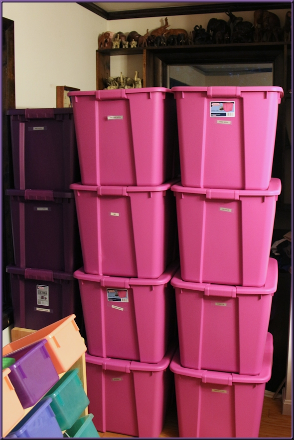 pink and purple yarn bins