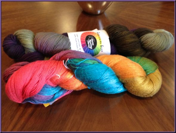 Rainbow silk and lavender and green sock yarn