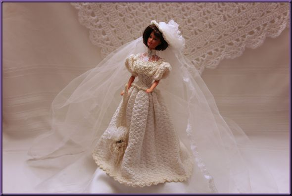 Barbie doll in 19th century style crocheted wedding gown
