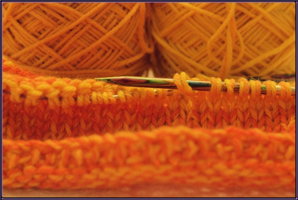 Photo of orange yarn taken without flash
