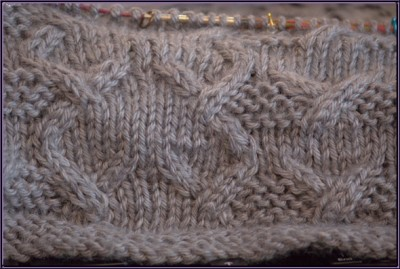 cabled knitting in progress