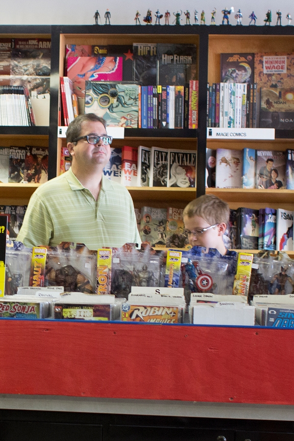 The boys are finding things they like in the comic book store