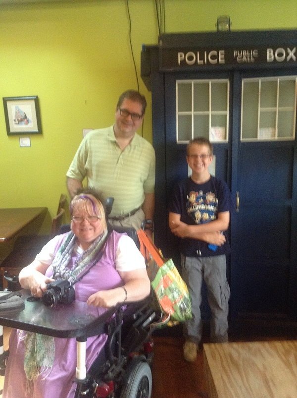 Trish, John, and Steven with the TARDIS